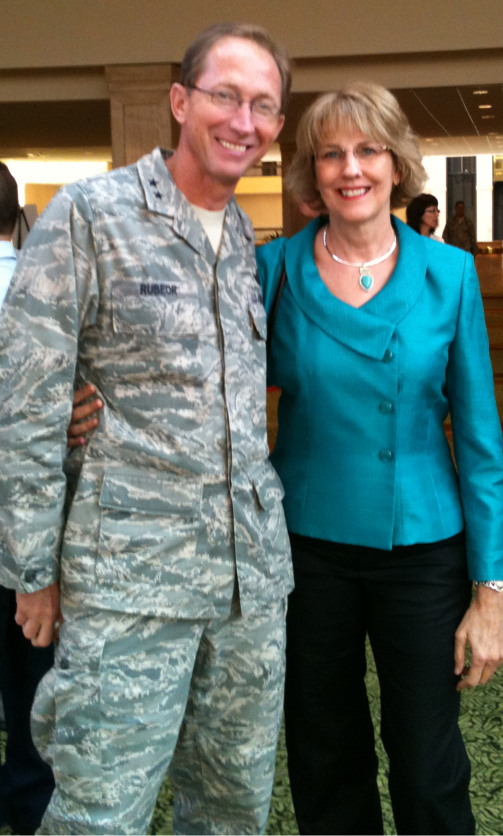 Kay with General Rubeor, 22nd Air Force Leadership Conference.